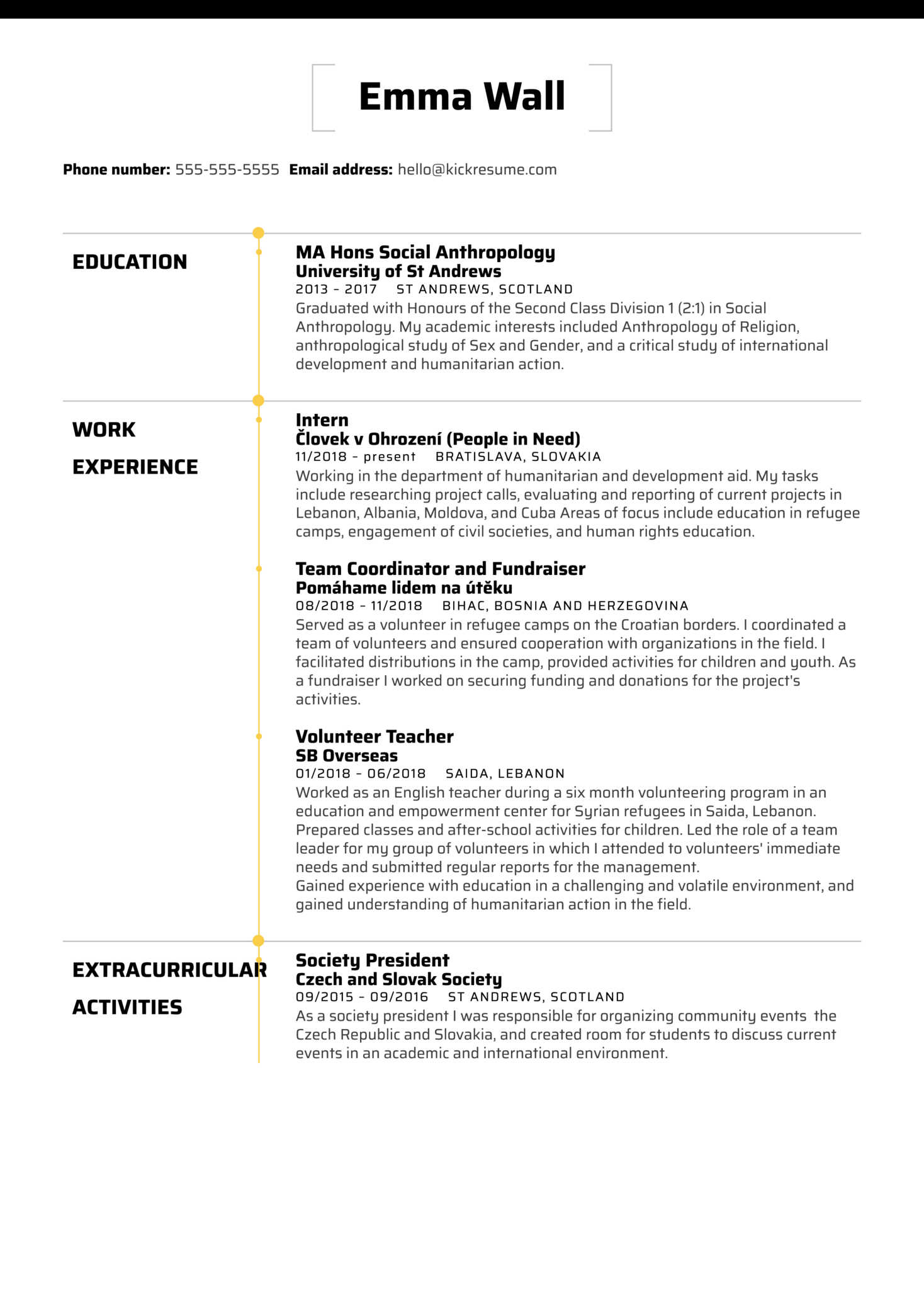 Intern at People in Need Resume Sample (Part 1)