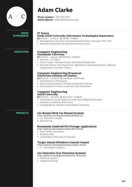 Software Engineering Intern at Payworks Resume Sample