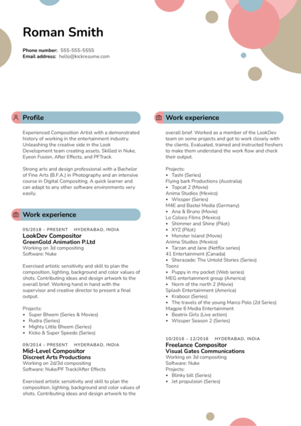 Compositor at Greengold Animation Resume Sample