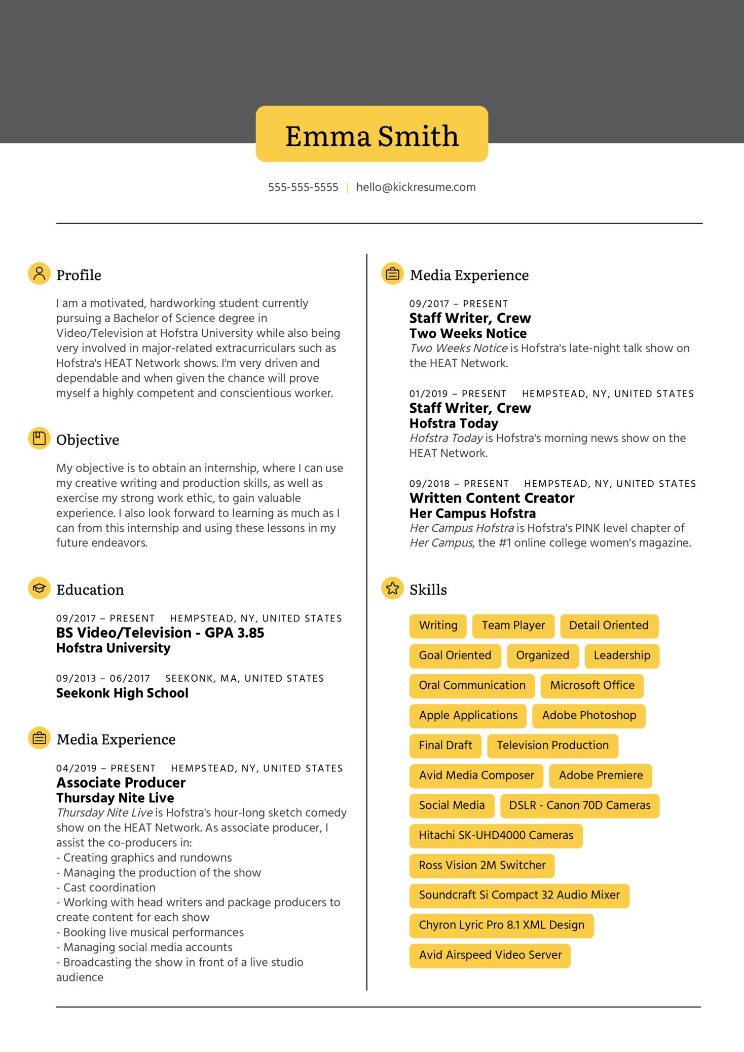 Intern at NBC Resume Sample
