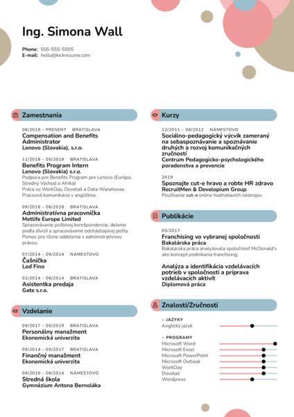 HR Admin - Lenovo Vzor Životopisu [SK]