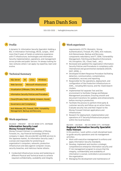 Information Security Manager at Money Forward Resume Sample