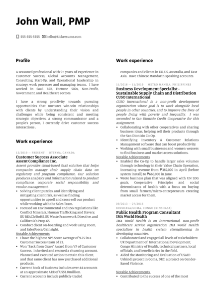 Customer Success Manager at Descartes Systems Resume Sample
