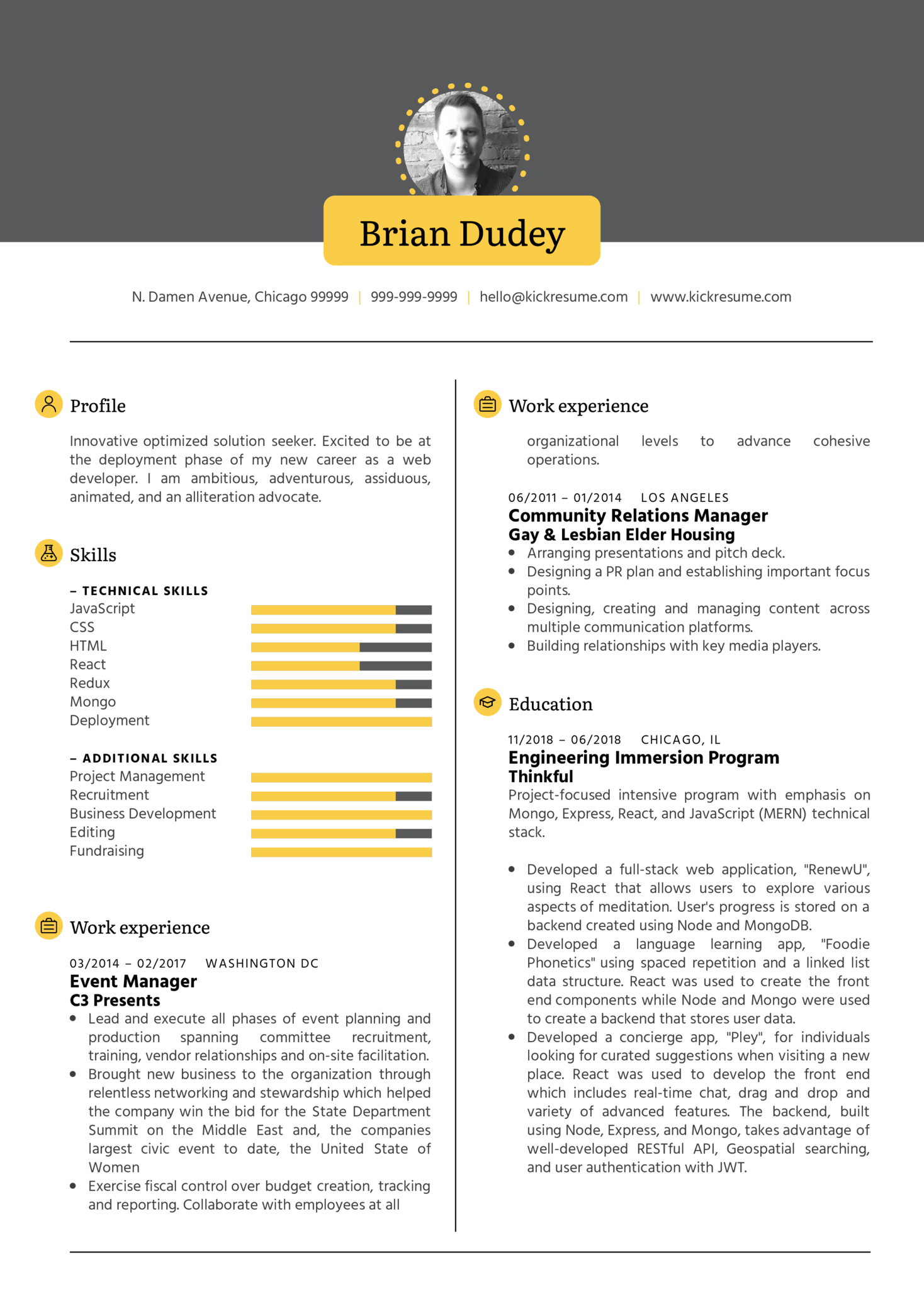Resume Examples by Real People: Full stack developer CV sample