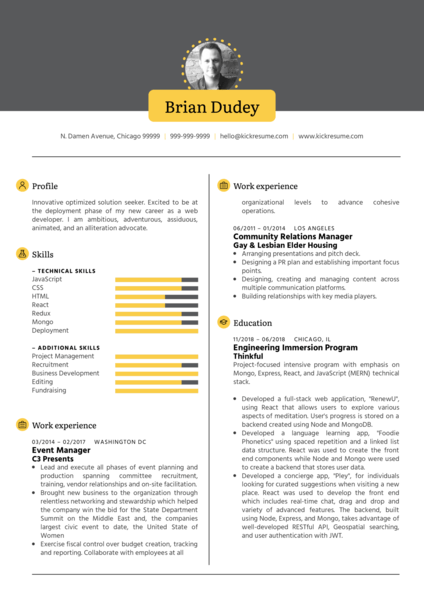 Full Stack Developer CV Sample