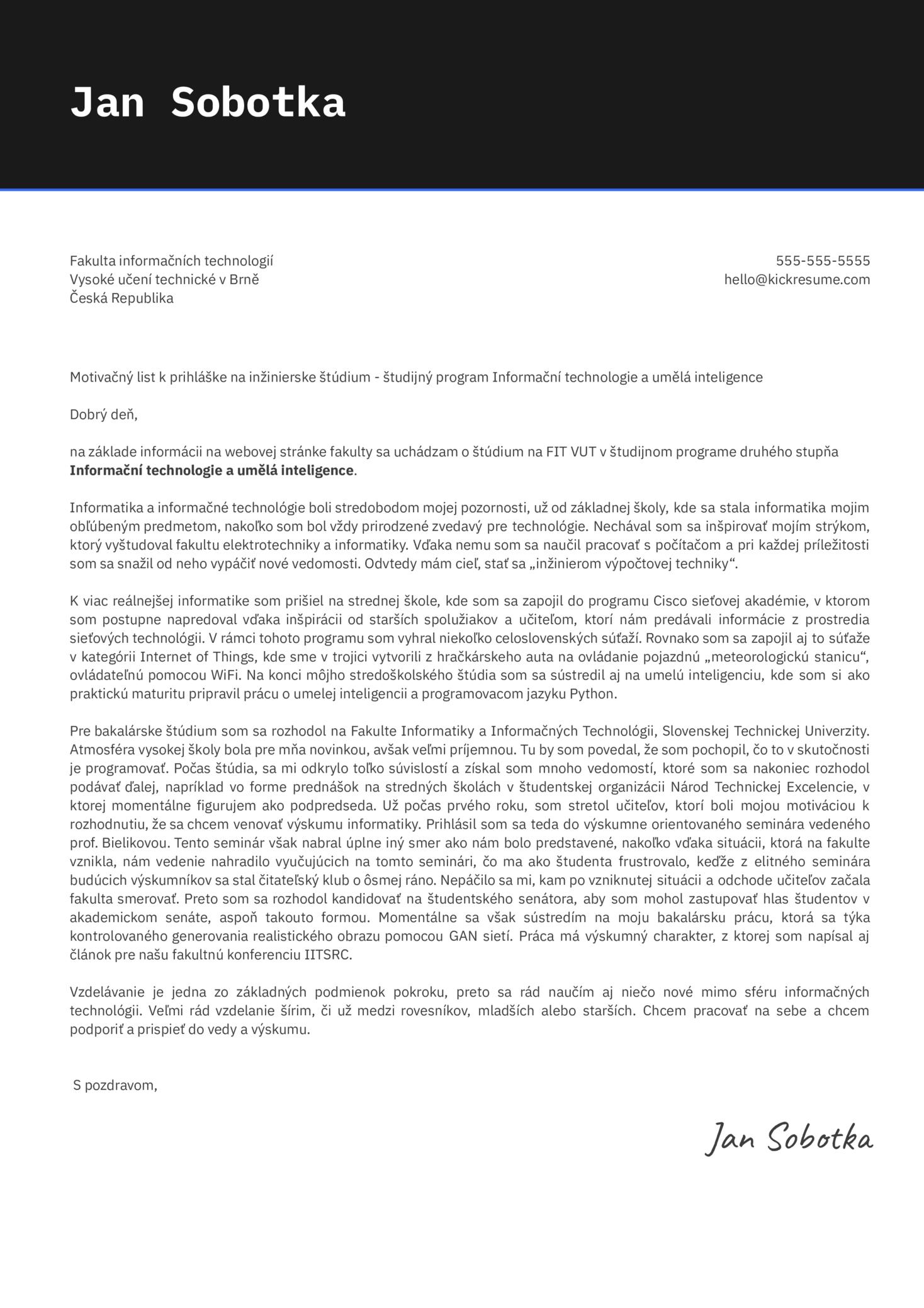 University Application Cover Letter Sample [SK]