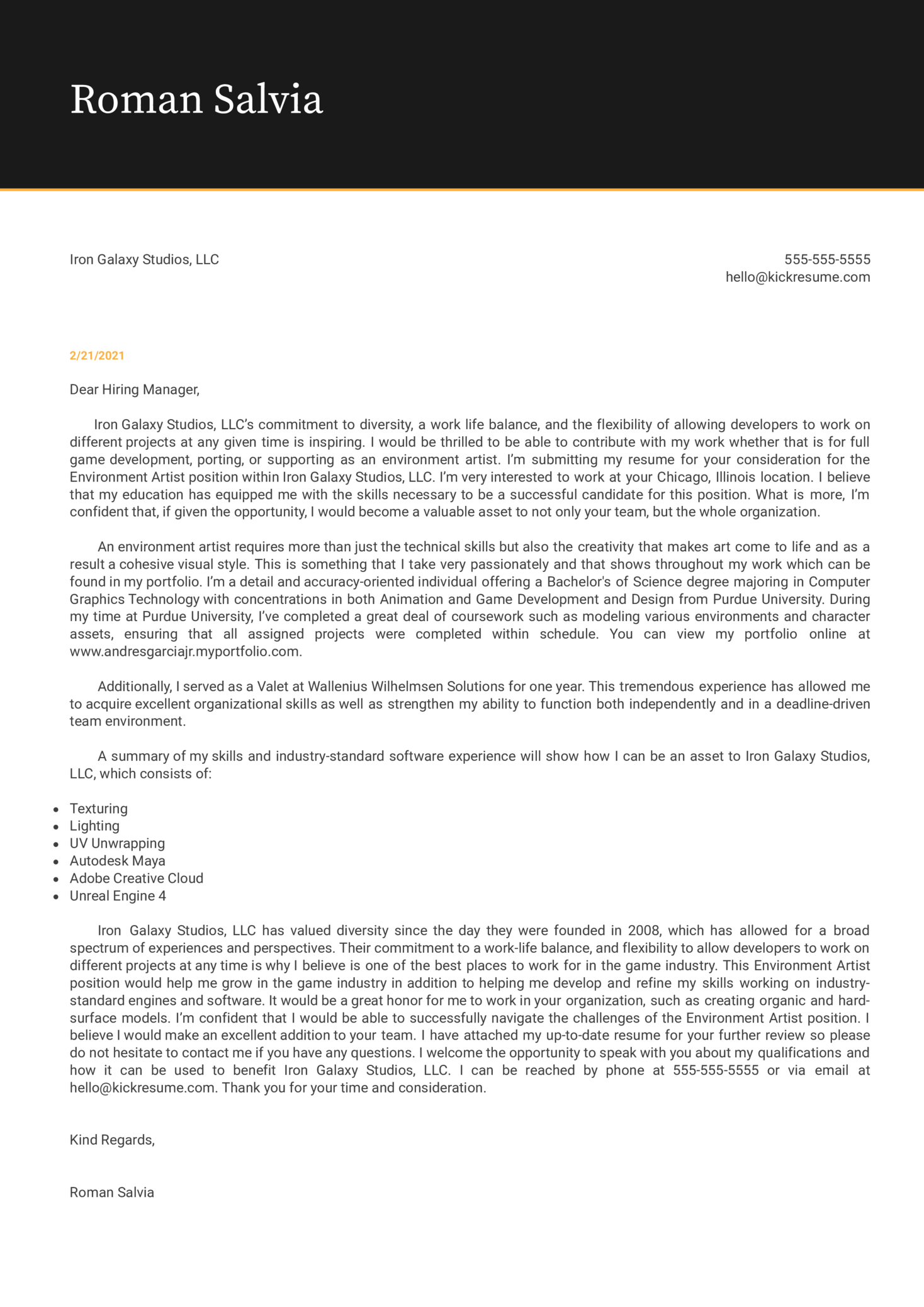 Environment Artist at Iron Galaxy Studios Cover Letter Sample