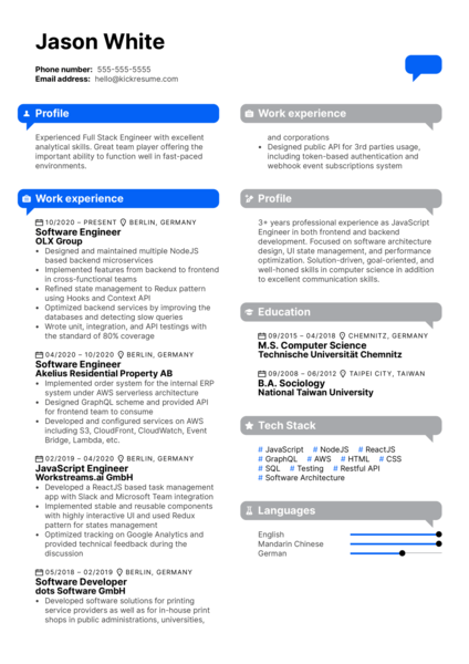 Full Stack Engineer at Tier Mobility Resume Sample