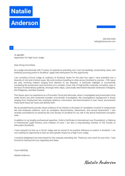 Judge Cover Letter Sample