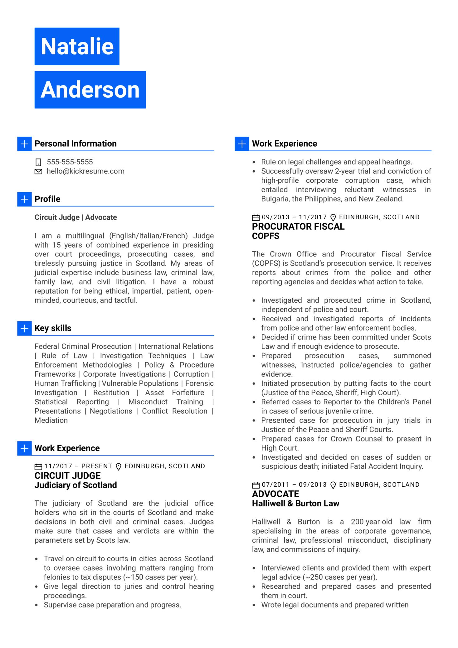 Judge Resume Sample (Part 1)