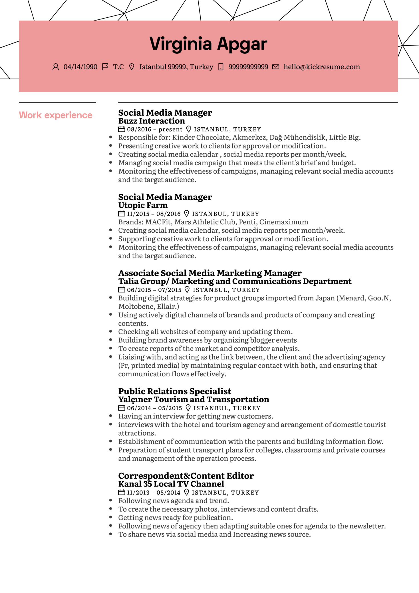 L'Oréal Social Media Manager Resume Sample (Part 1)
