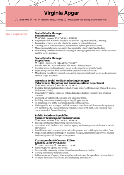 L'Oréal Social Media Manager Resume Sample