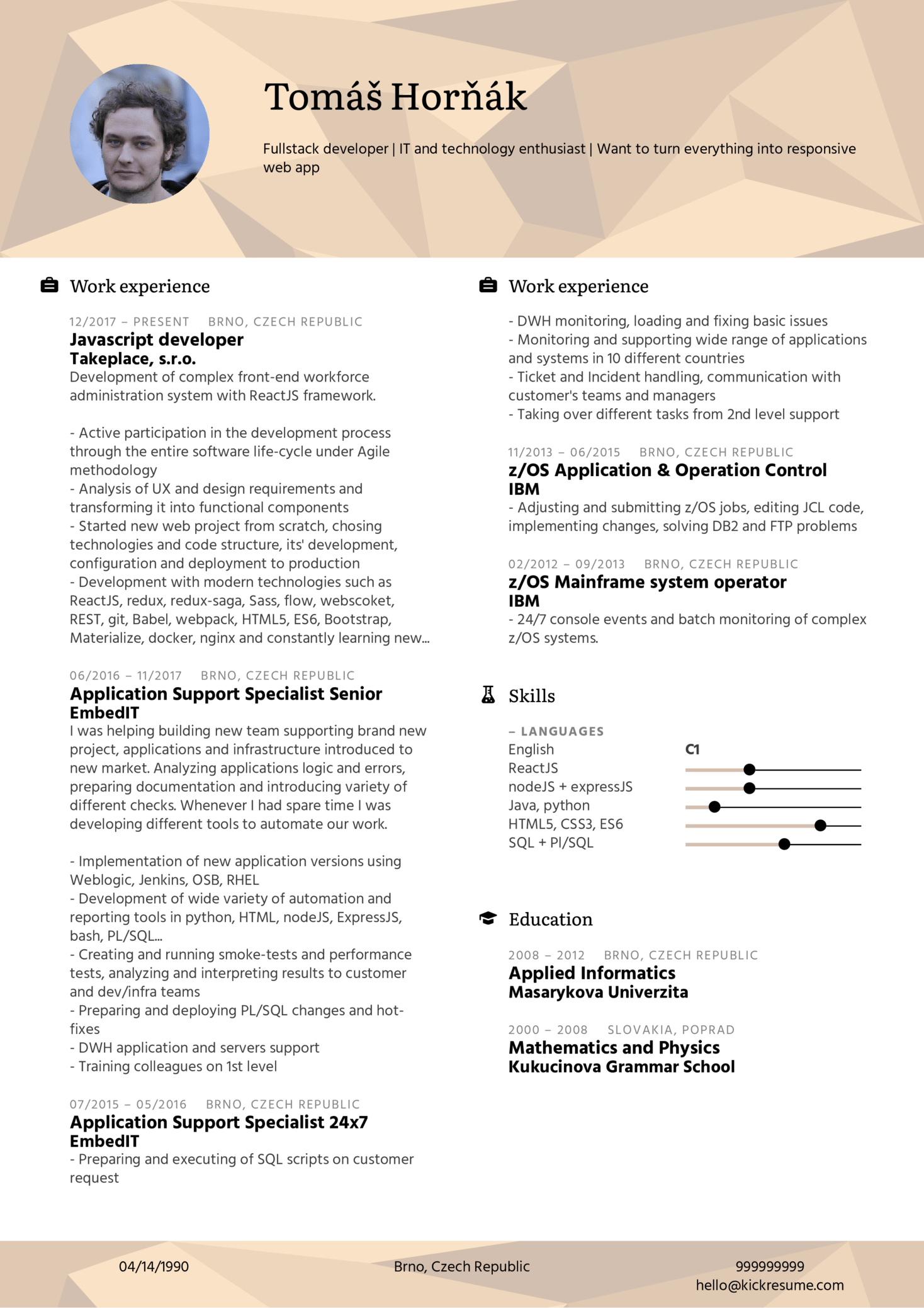 Resume Examples by Real People: Takeplace Java Script web developer ...