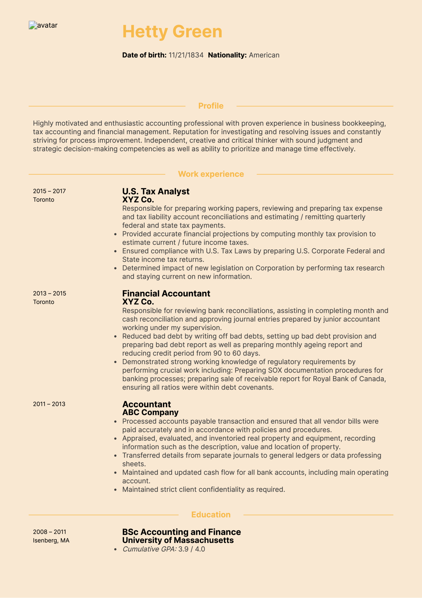 CPA Tax Accountant Resume Sample
