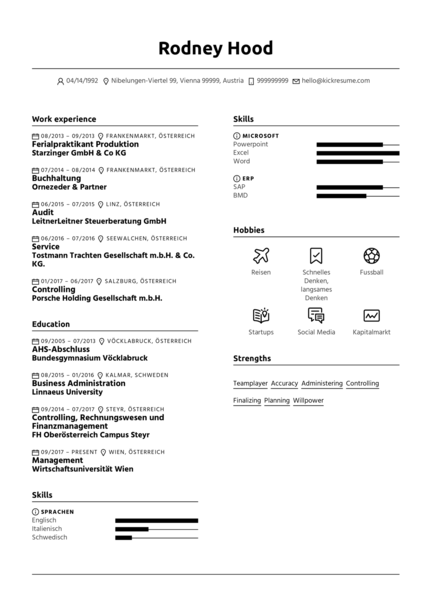 Porsche Holding HR Manager Resume Example
