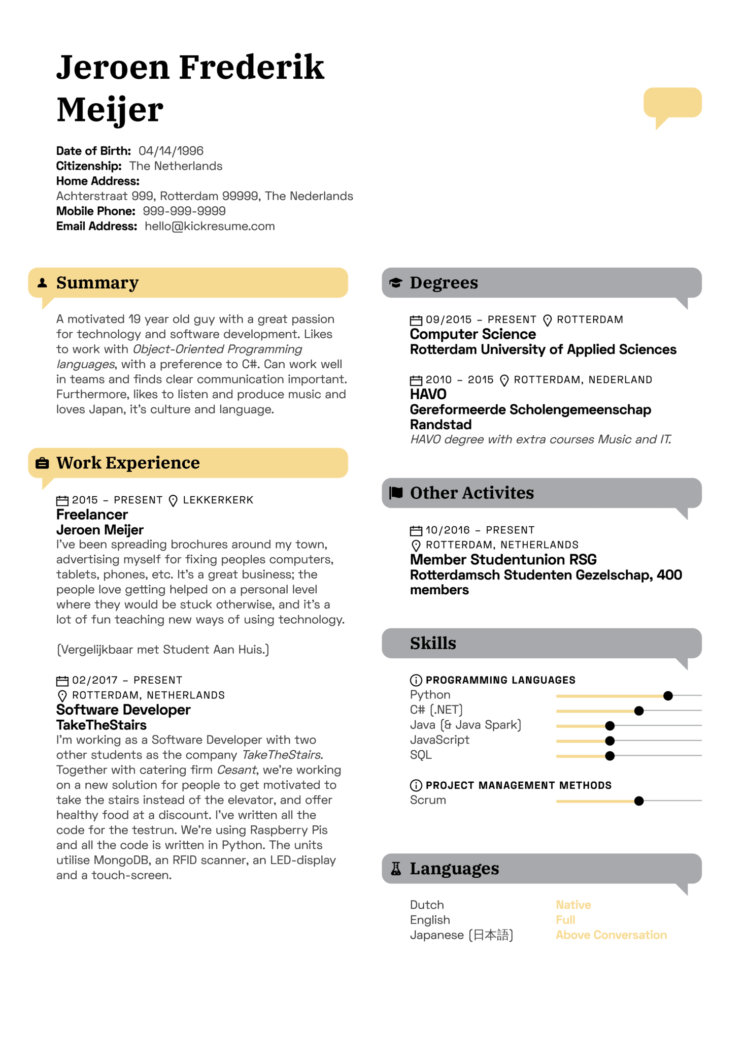 resume examples by real people  fusion systems tokyo