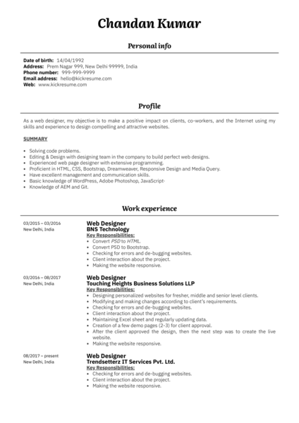 Web Designer At Trendsetterz Resume Example
