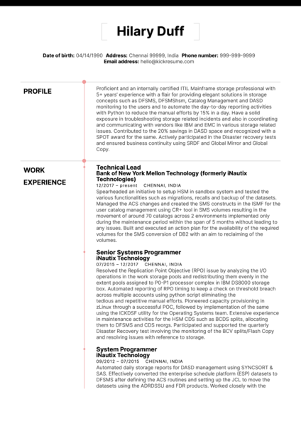 Technical Lead Resume Sample at Merck