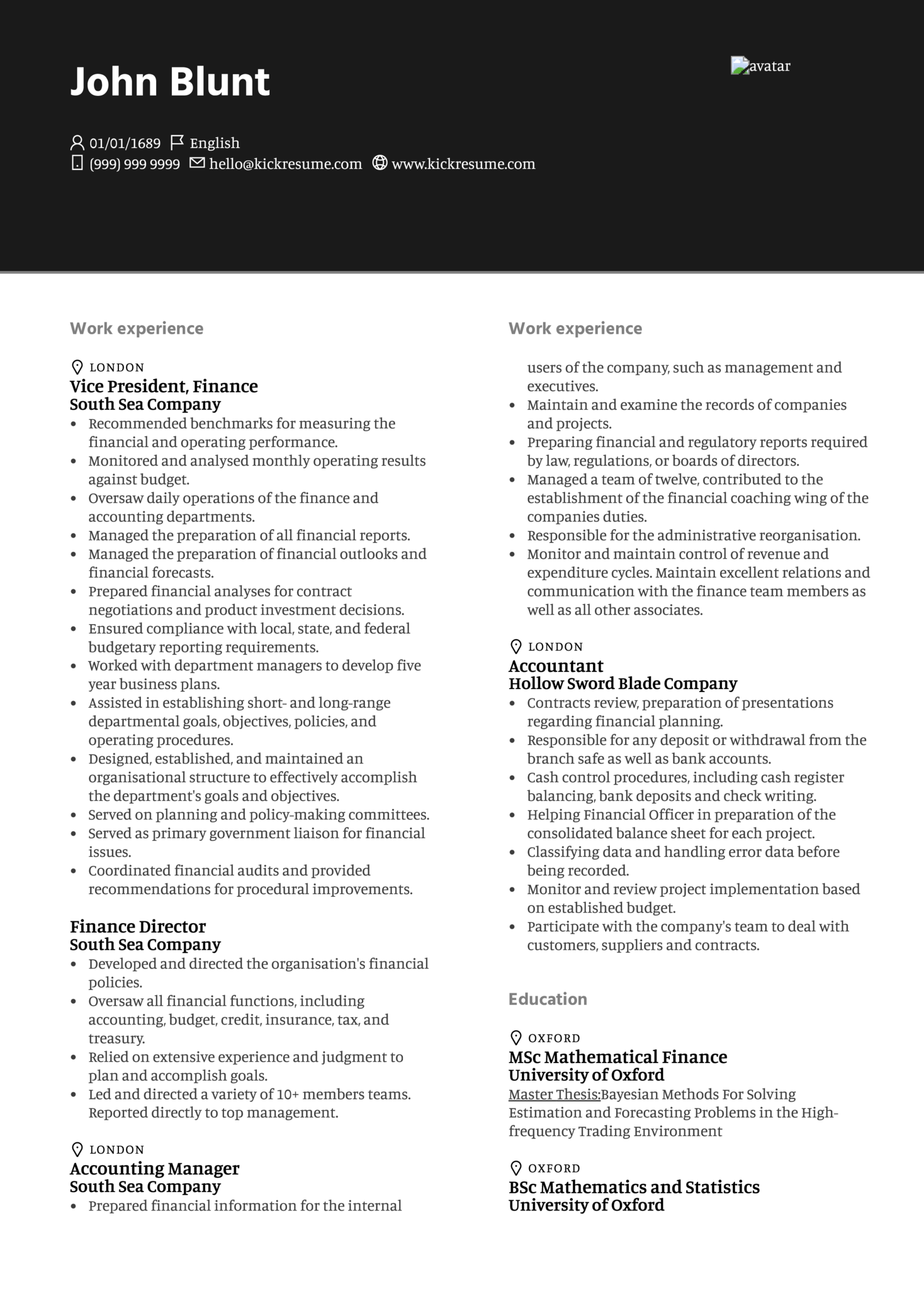 Executive Accountant Resume Sample