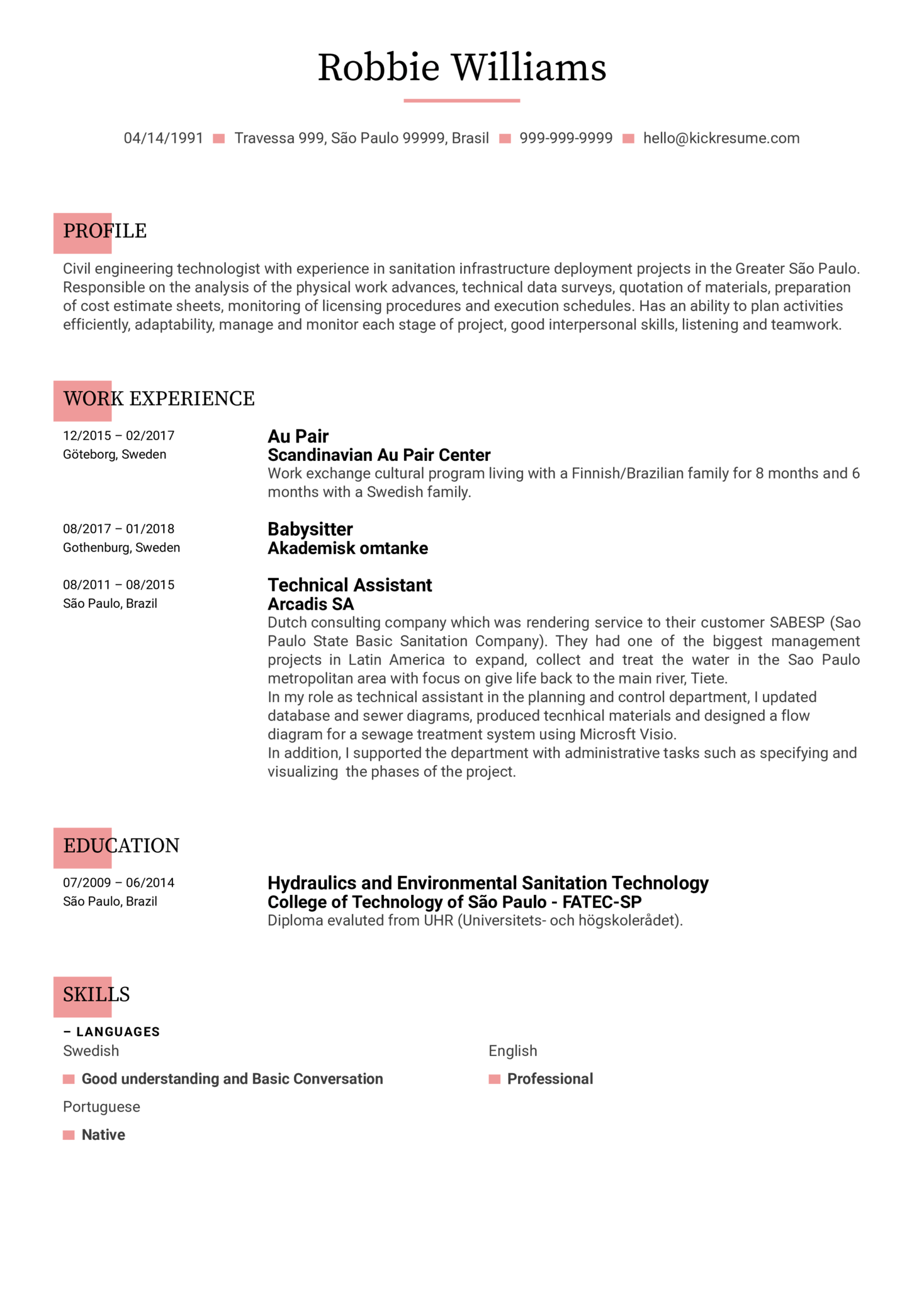 Engineering Technologist CV Template (Part 1)