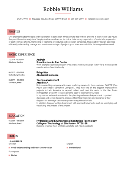 CV Example of Engineering Technologist at