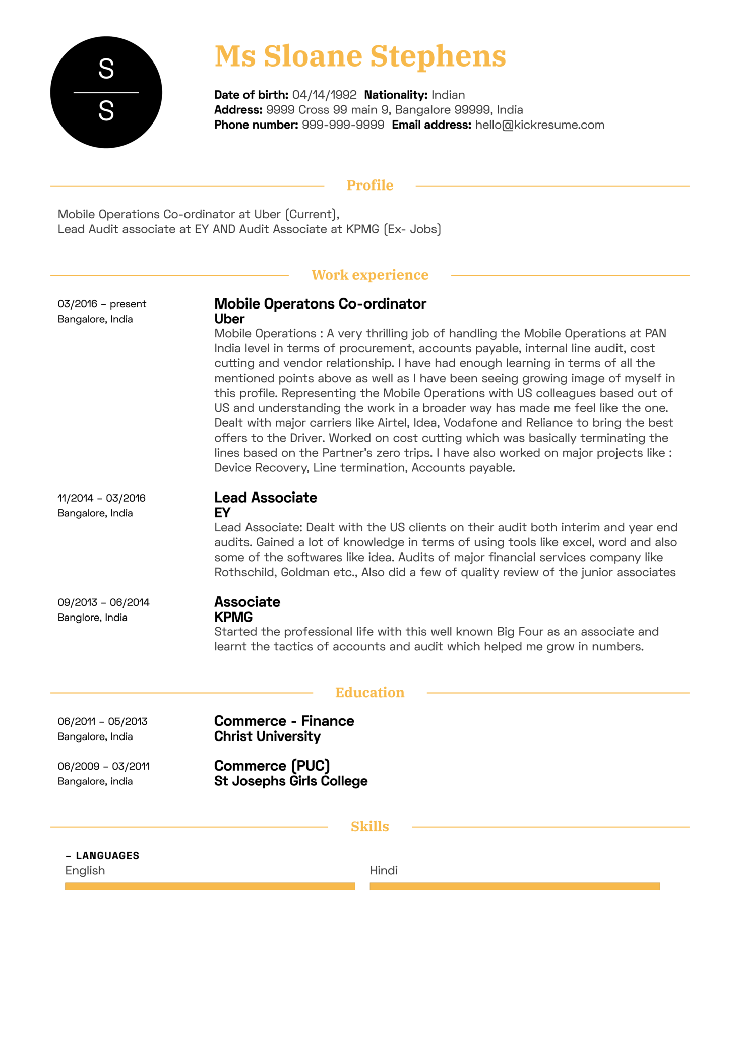Project Manager Resume Template (Part 1)