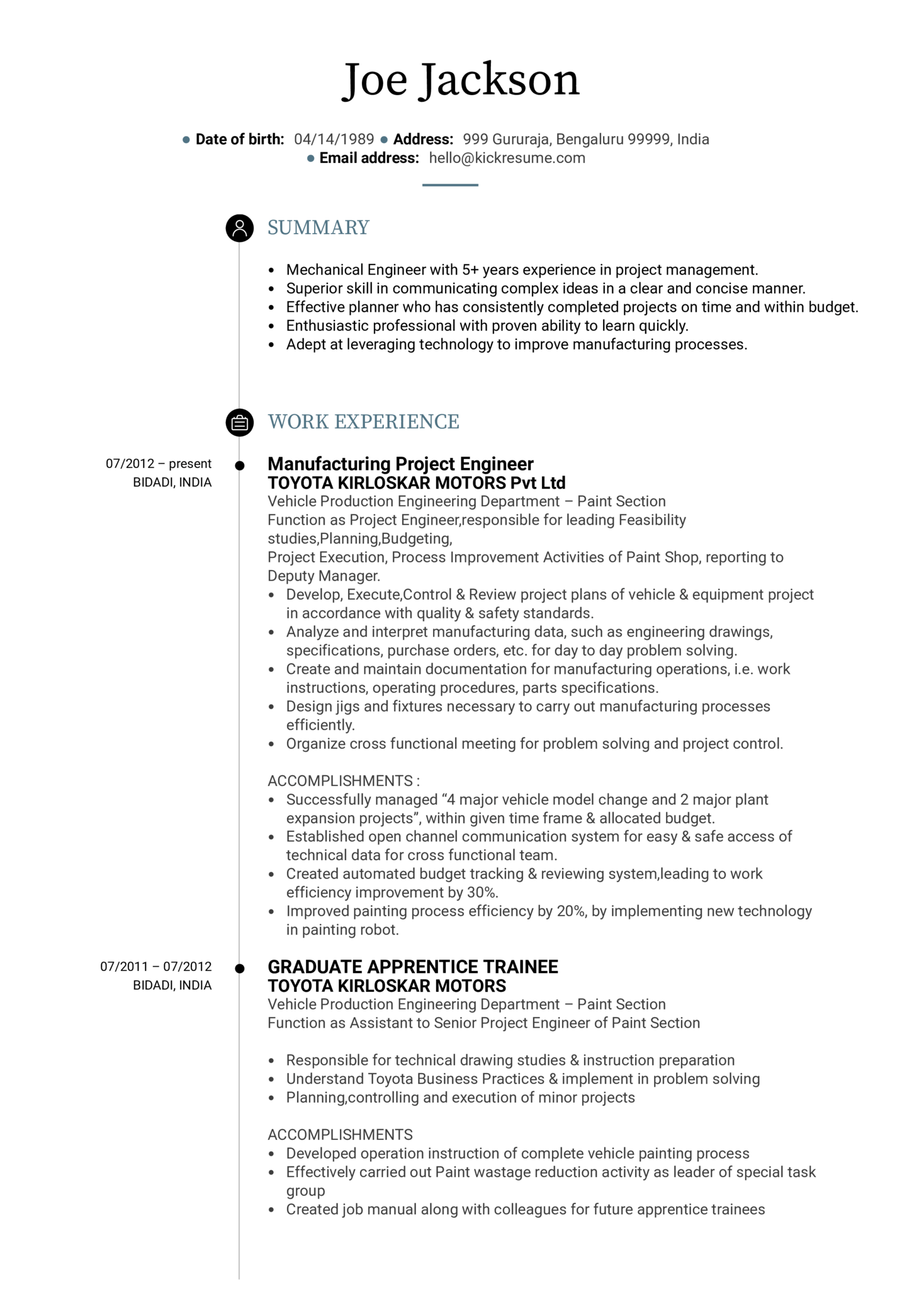 Project Engineer Cv Sample Kickresume