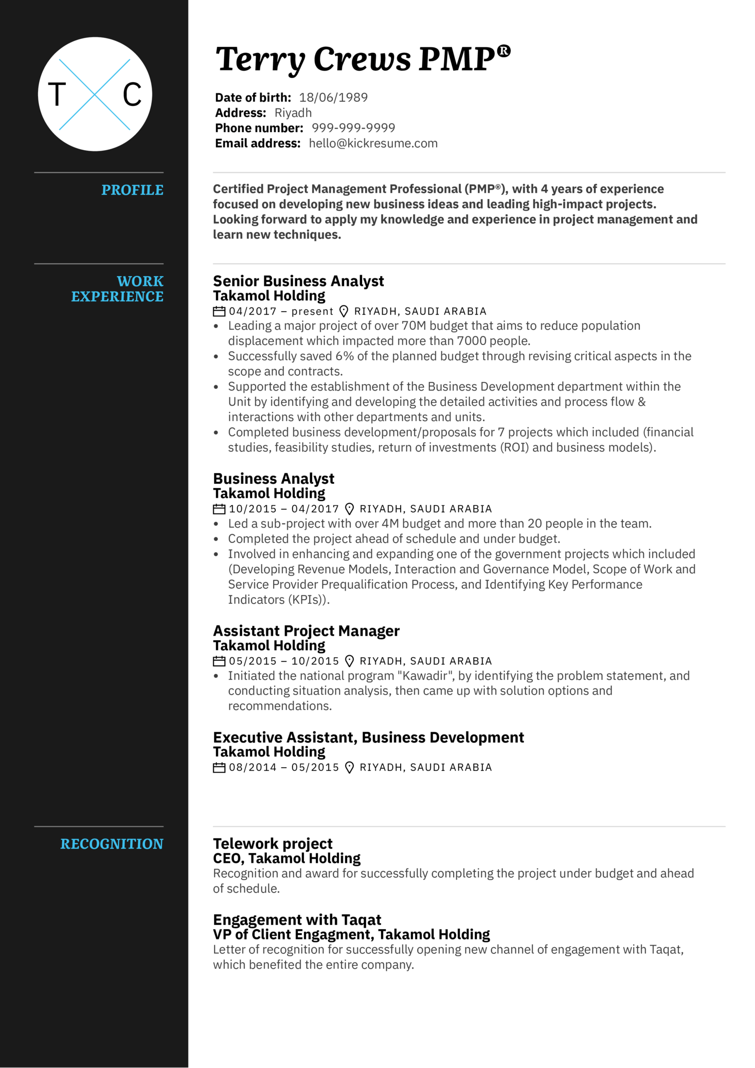 Project Manager Cv Example Kickresume