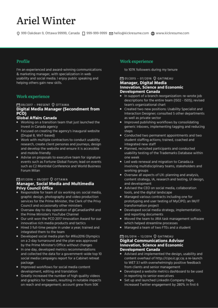 Government of Canada Digital Media Manager Resume Sample