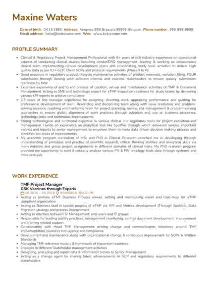 Manager at GSK Resume Example