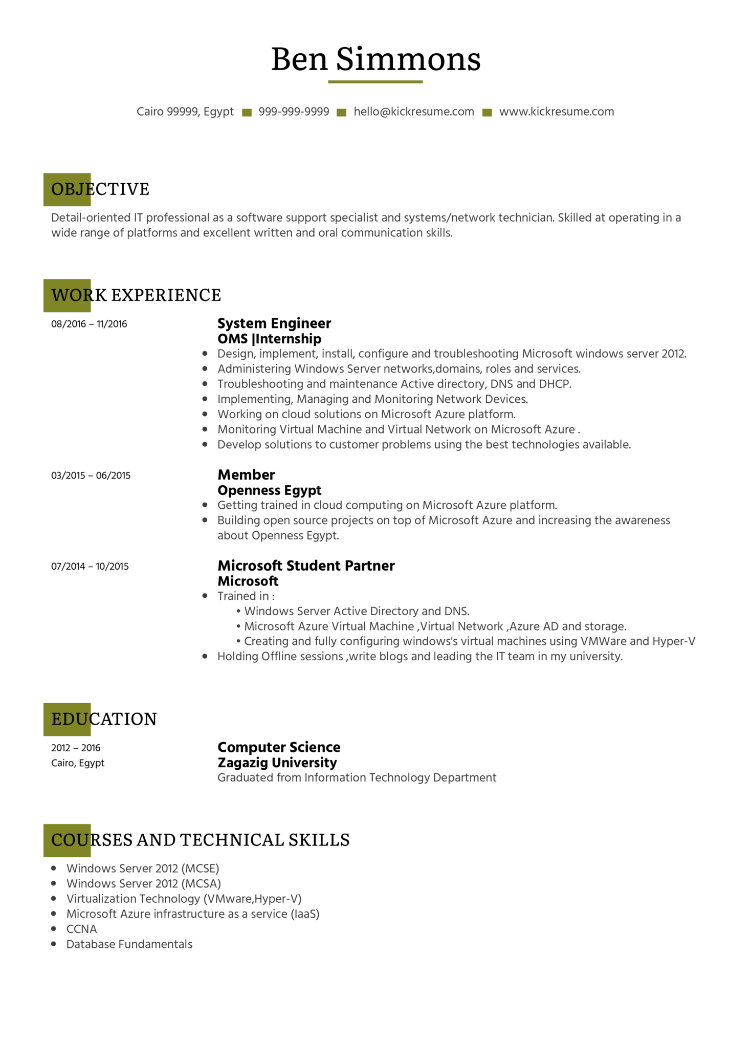 resume examples by real people  system administrator cv