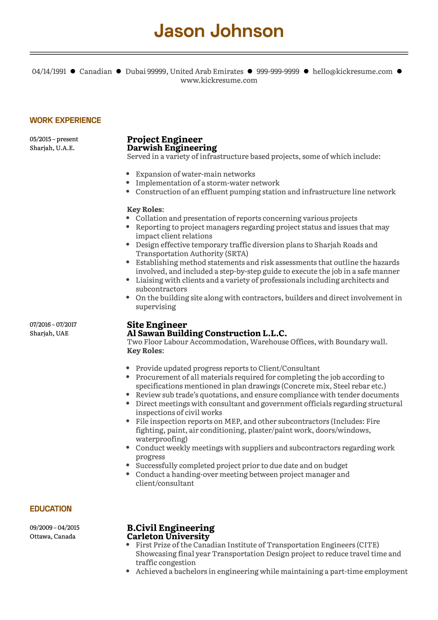 Project Engineer Resume Sample