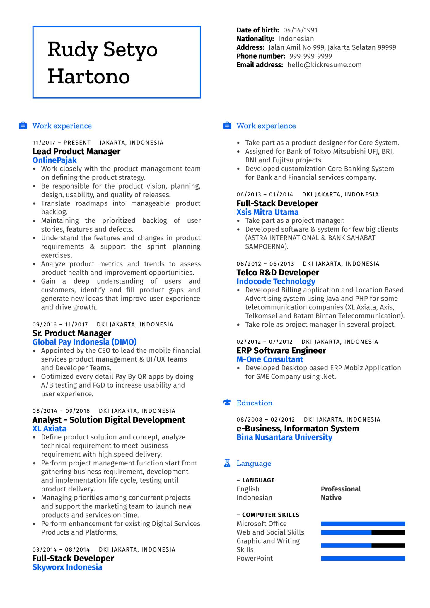 senior product manager cv example