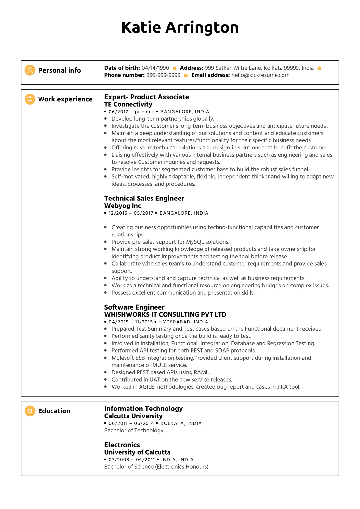 Product Analyst CV Example