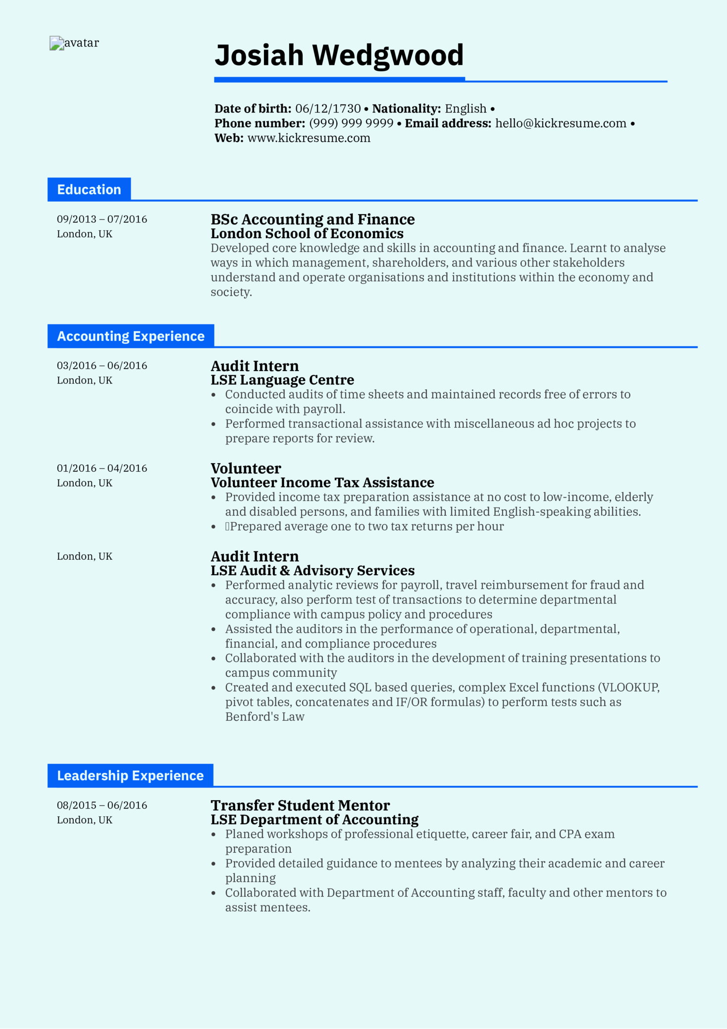 Graduate Accountant Resume Sample Kickresume