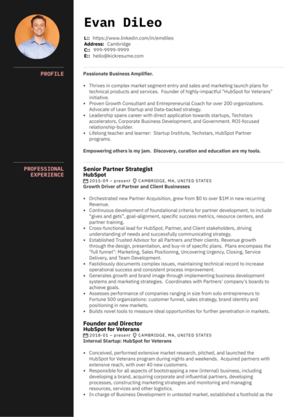 HubSpot Director of Business Development Resume Sample