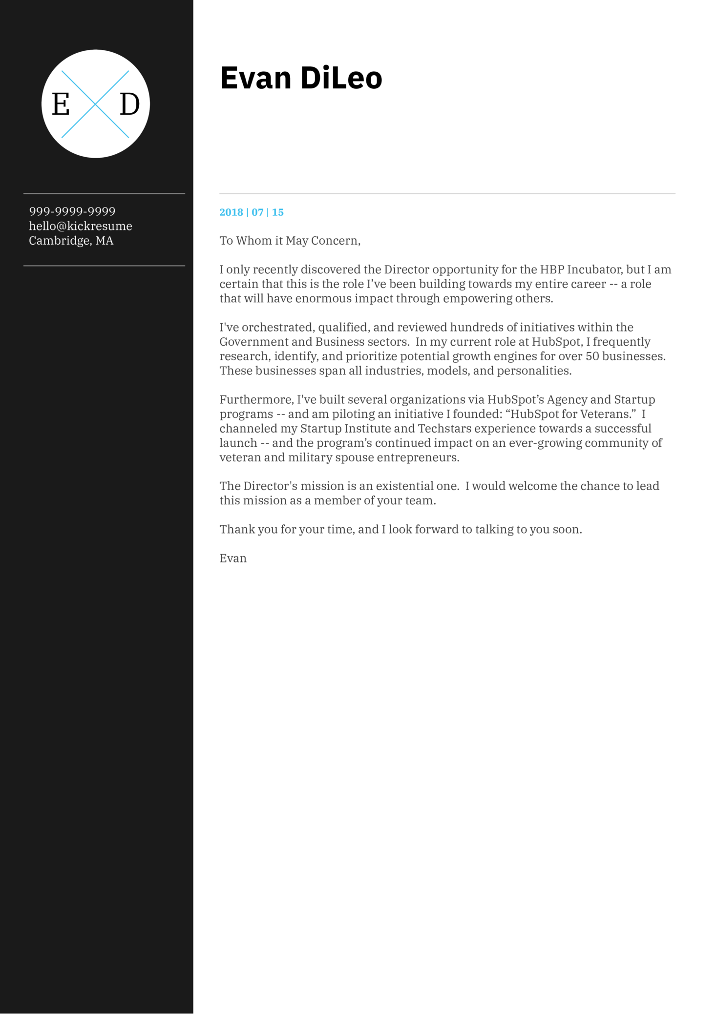 HubSpot Director of Business Development letter