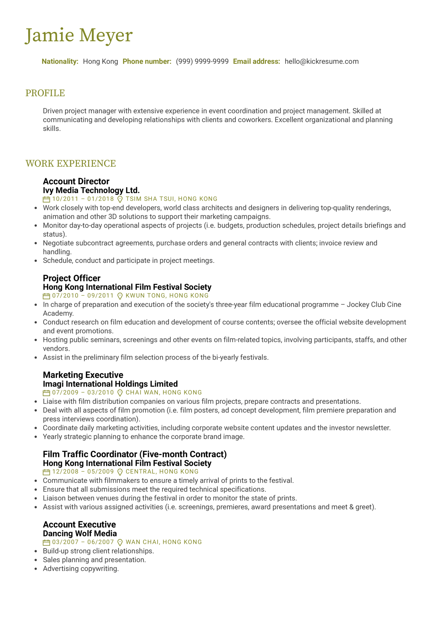 Resume Examples By Real People Project Manager Resume Sample