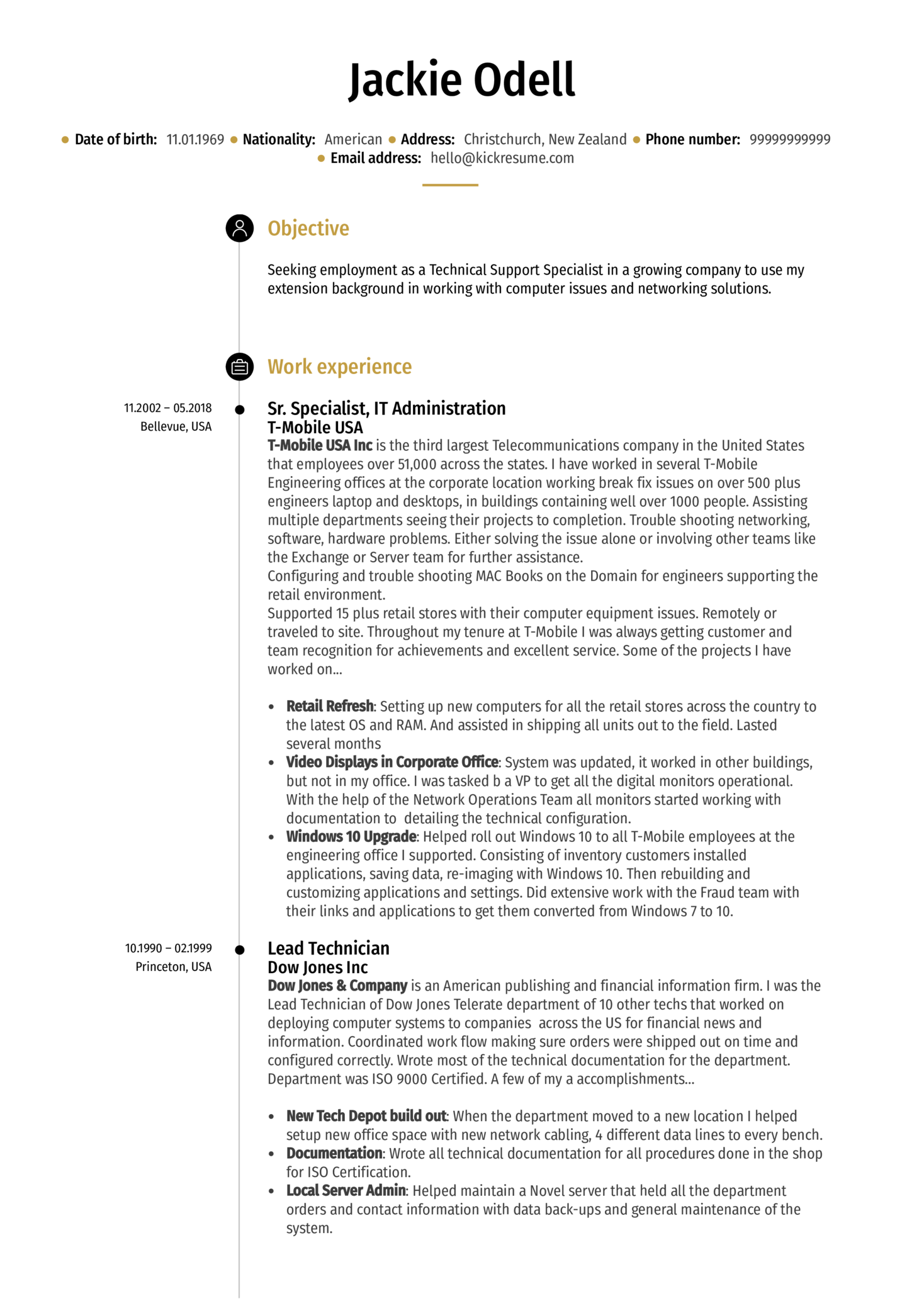 resume examples by real people  sr  technical support
