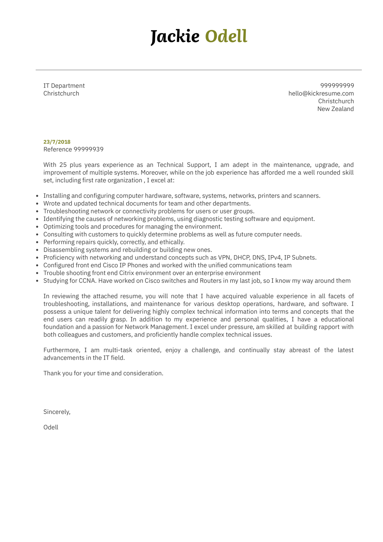 Sr. Technical support specialist cover letter