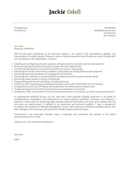 sr technical support specialist cover letter