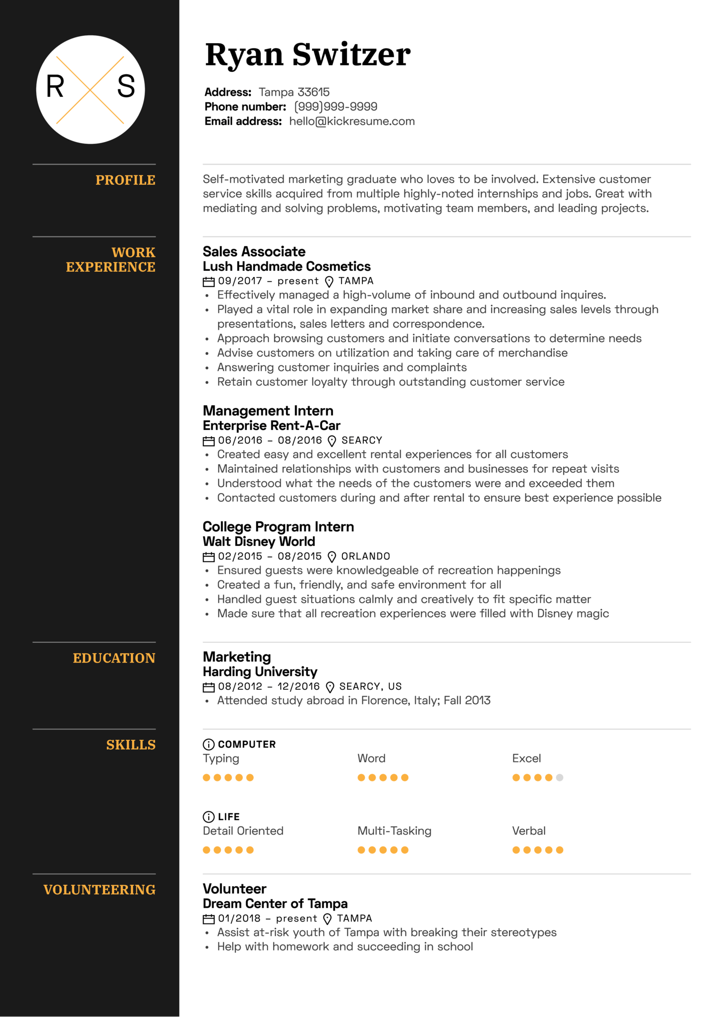 Sales Associate Resume Template Kickresume