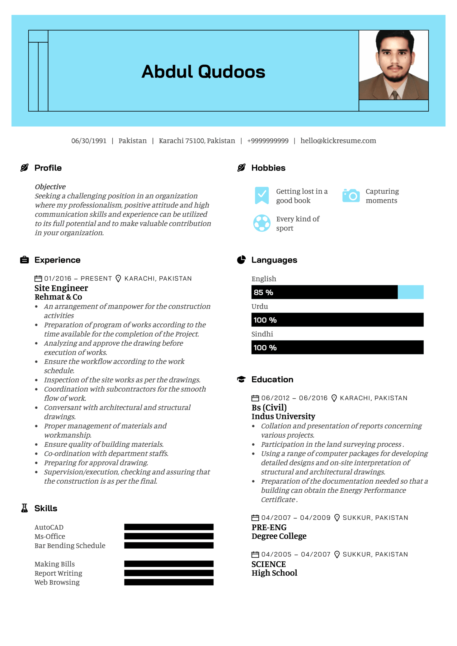 Assistant civil engineer resume sample