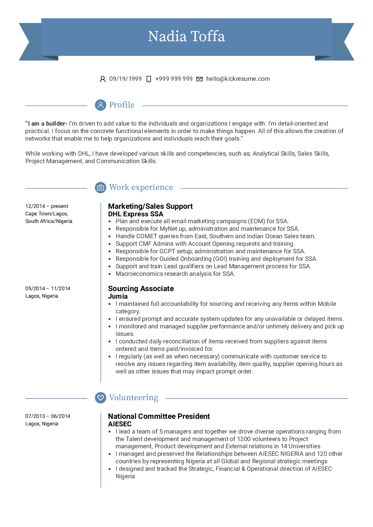 Resume Examples by Real People: Sales support resume sample