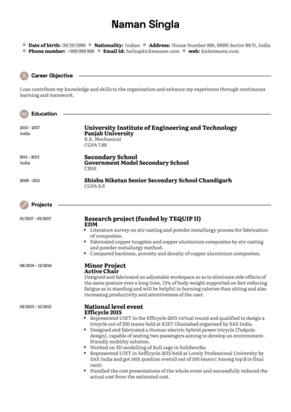 Junior Research Analyst CV Sample