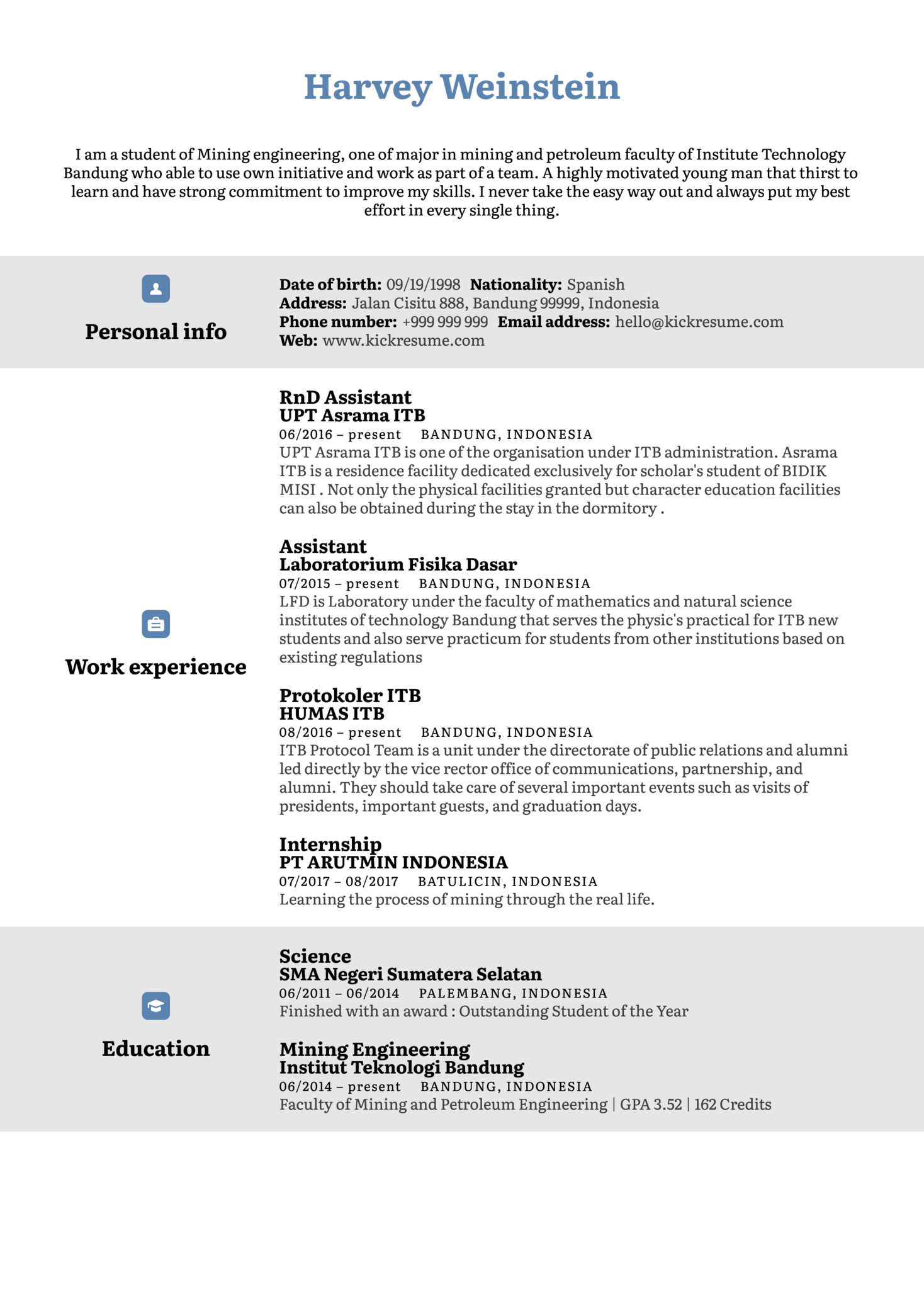 resume examples by real people  mining engineer resume