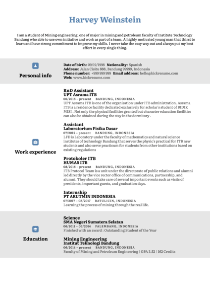 Mining Engineer Resume Sample