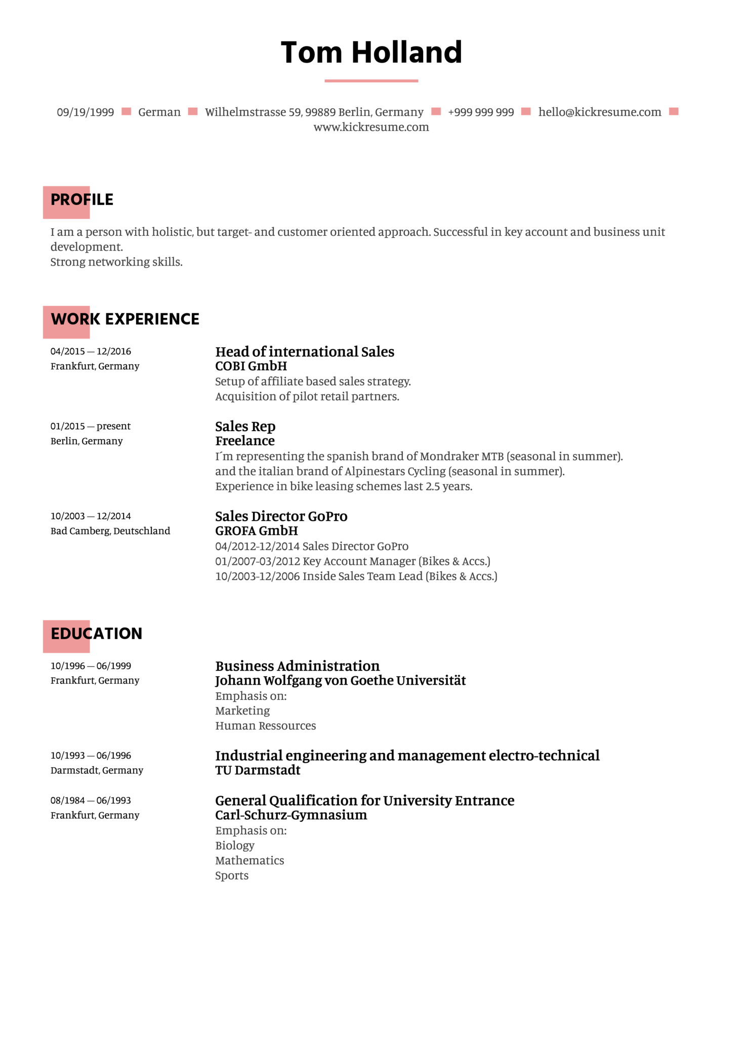 Sales Manager Resume Example (parte 1)