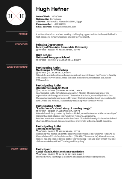 Art Curator CV Sample