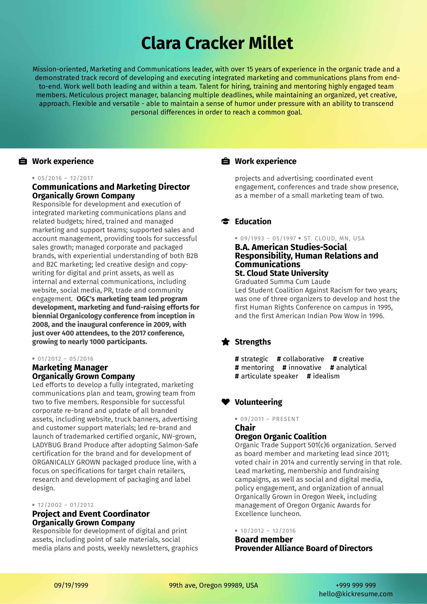 Marketing Analyst Resume Example (Part 1)